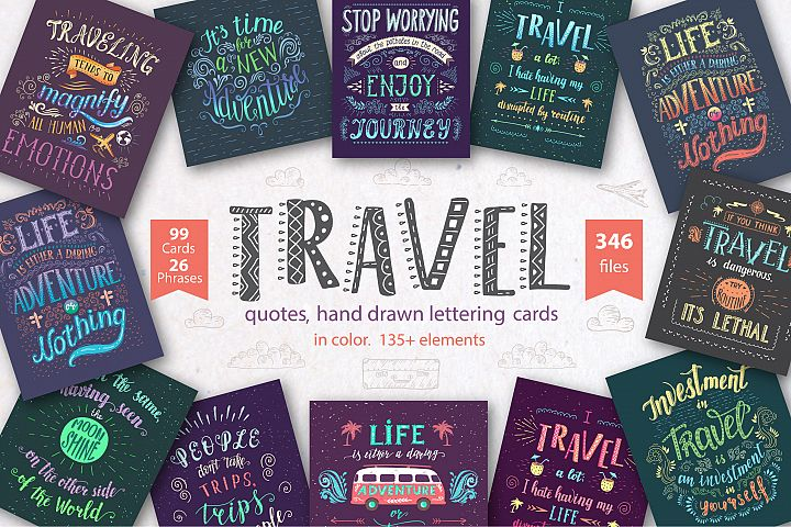 Travel. Hand lettering in color.