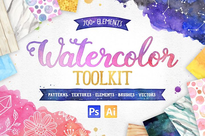 New Watercolor Textures and Graphics Bundle