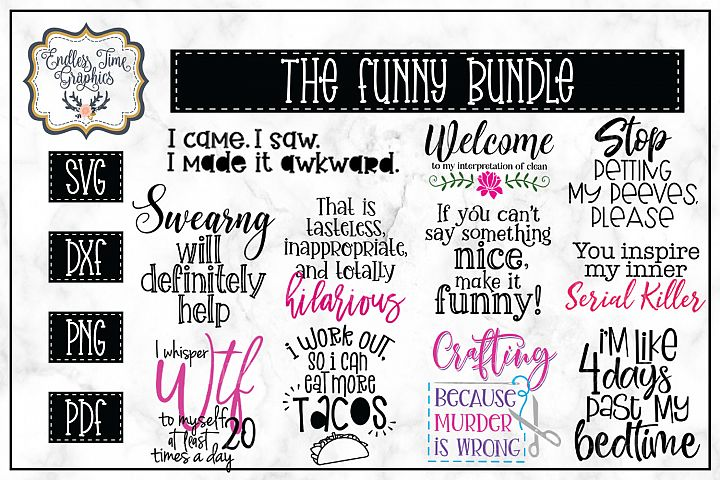 The Funny SVG Bundle - 11 Unique Files For Cutting
