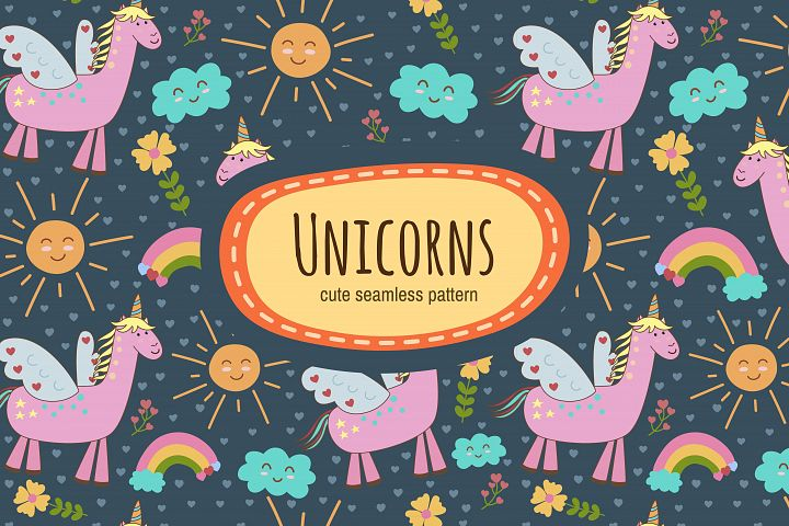 Cute Unicorns: seamless patterns