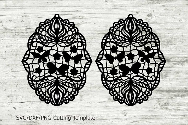 earrings pendant, cutting laser template, svg file, lace floral cut templates, cricut, zentagle, butterflies, earring svg, jewellery, dxf