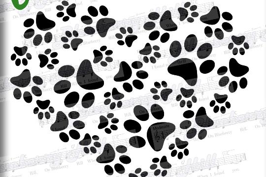 Paws Print Heart - Paw Print SVG -  Paw Prints pattern  - Paw SVG file -Silhouette Cut Files - DIY- Svg - Dxf- Eps - Png -Jpg - Pdf