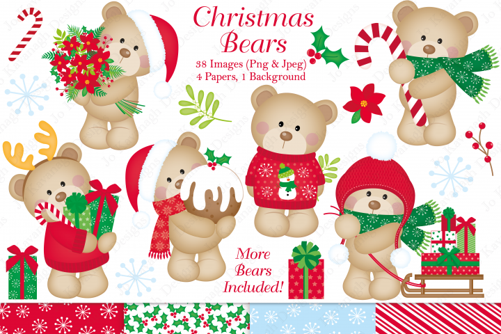 Christmas clipart, Christmas graphics & illustrations, Christmas cute bears clipart, Christmas cute bears graphics & illustrations, Cute bear clipart