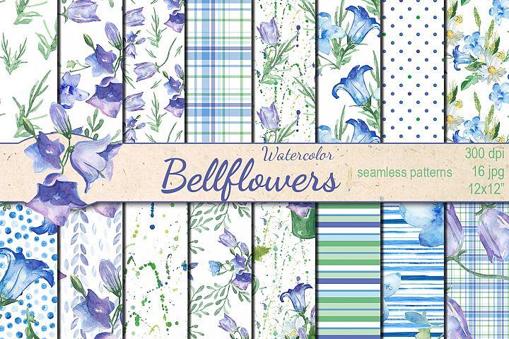 Watercolor Bellflowers seamless digital paper pack