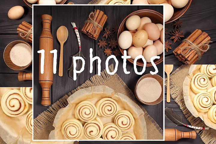Set of 11 photos - raw buns: cinnamon rolls prepared for baking on a background of rustic table