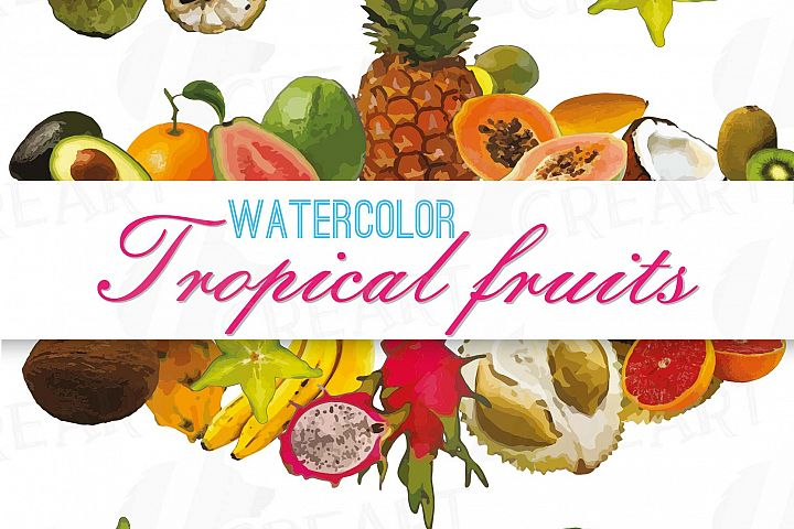 Watercolor exotic fruits clip art pack, exotic watercolor tropical clip art. Eps, png, jpg, svg, vector files included.