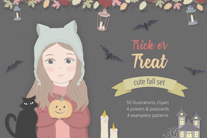 Halloween Fall Illustration Set