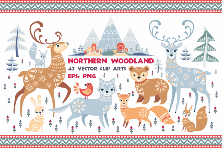 Northern woodland. Animals and plants in ethnic style.