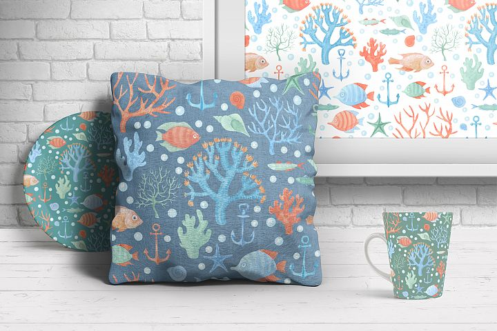 Sea Life Watercolor Seamless Pattern example 3