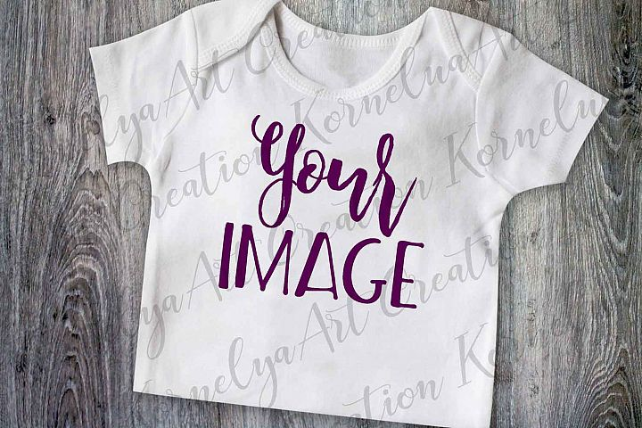 t-shirt mockup, mock up shirt, baby shirt photo, blank white baby onepiece Mockup, baby mock up flat, top view wood background, JPEG format