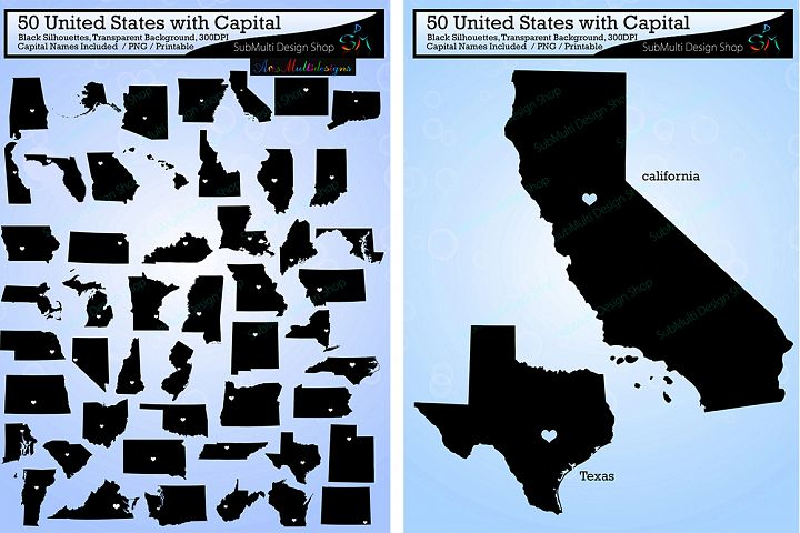 50 united states map with capital vector / states with capital map /Us map silhouette / SVG / EPS / PNG / High Quality / state names / updated