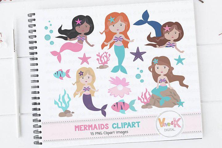 Mermaids, Mermaids Clipart, Mermaid Graphics, Mermaids, Sea Creatures, Princess Clipart, Ocean Graphics, Under the Sea Clipart, Clipart