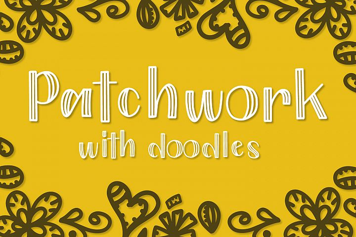 Patchwork - Double Inline With Doodles Font Duo
