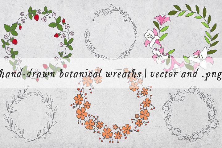 Hand Drawn Botanical Wreaths - Vector