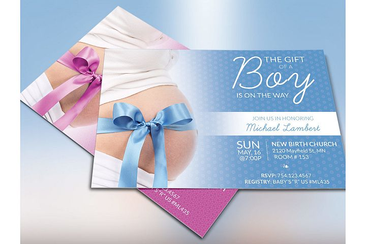 Baby Shower Invitation Photoshop Template example 2