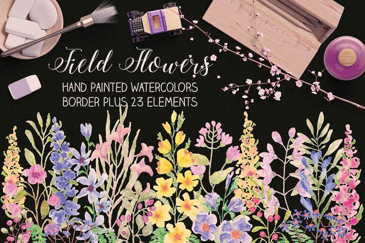 Watercolor border plus elements: Field flowers