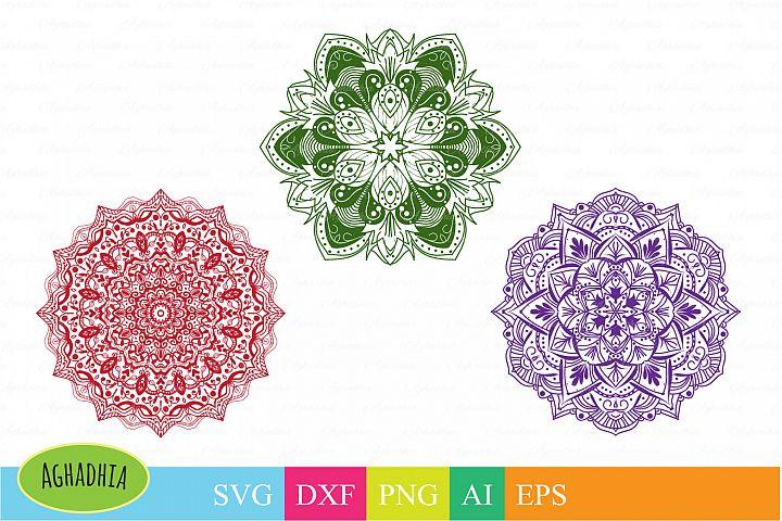 Mandala SVG, DXf, PNG, Ai and EPS