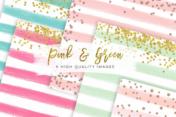 Watercolor digital paper pink and green