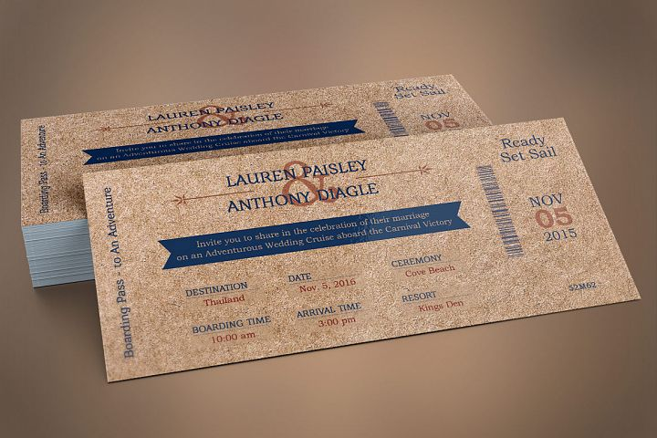 Cardboard Boarding Pass Invitation Template