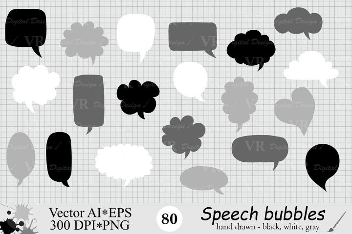 Speech Bubbles Clipart / Chat Bubbles / Hand drawn Text bubbles / Black, White, Gray - Vector