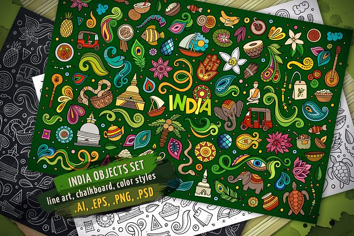 India Objects & Elements Set