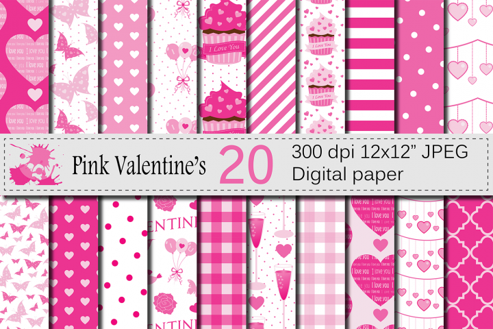 Pink Valentine`s Day Digital Paper Pack with Hearts, Cupcakes, Butterflies / Love Scrapbooking papers / Valentine backgrounds / patterns
