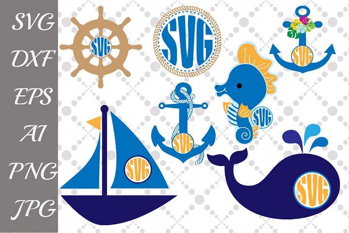 Nautical svg,NAUTICAL MONOGRAM SVG, Whale Svg