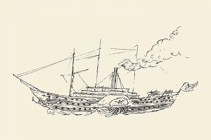 Set of engraved style ships example 2