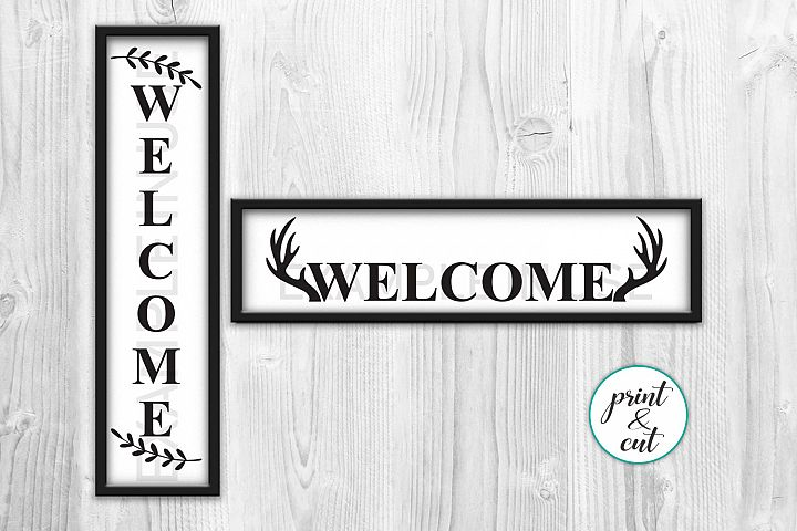 Welcome sign Modern Farmhouse Style Antlers Wreath svg print