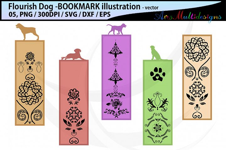 dog flourish bookmark clipart illustration / dog flourish bookmark / dog vector bookmark / dog / EPS / PNG / SVG / DXf