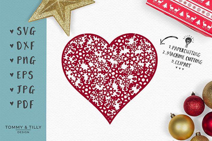 Snowflake Heart - SVG EPS DXF PNG PDF JPG Cut File