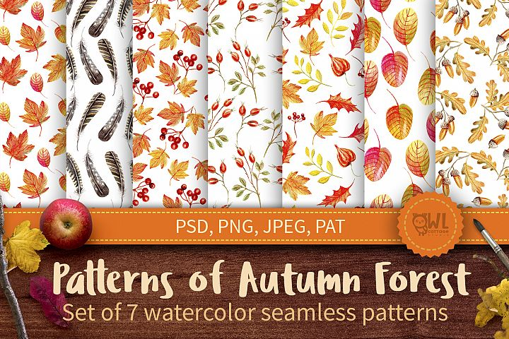 Autumn Watercolor Seamless Patterns Set