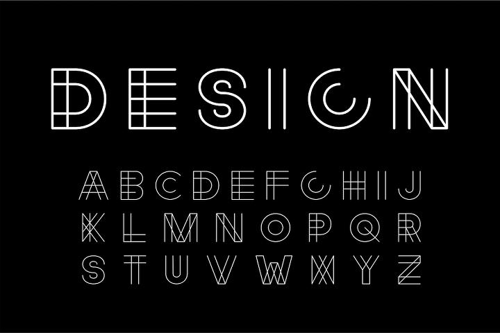 Linear designer creative font