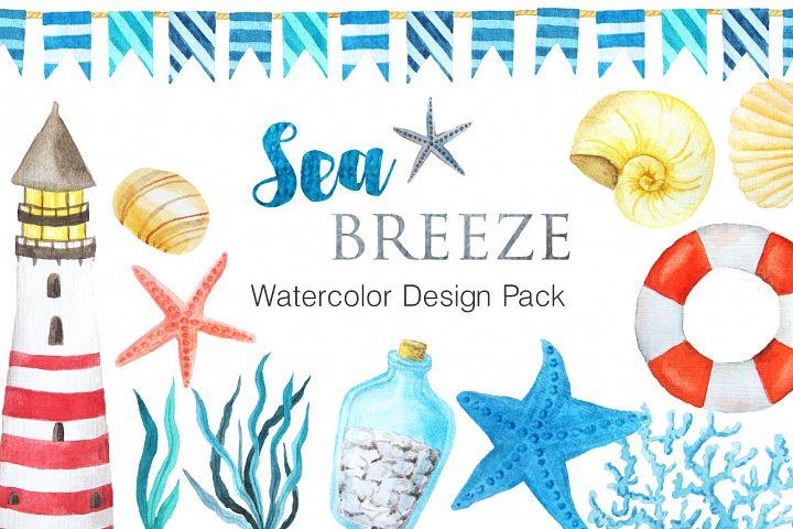 Watercolor Sea Nautical Set