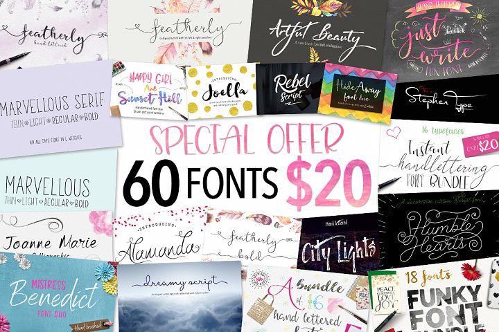 Joanne Marie 60 Font Bundle