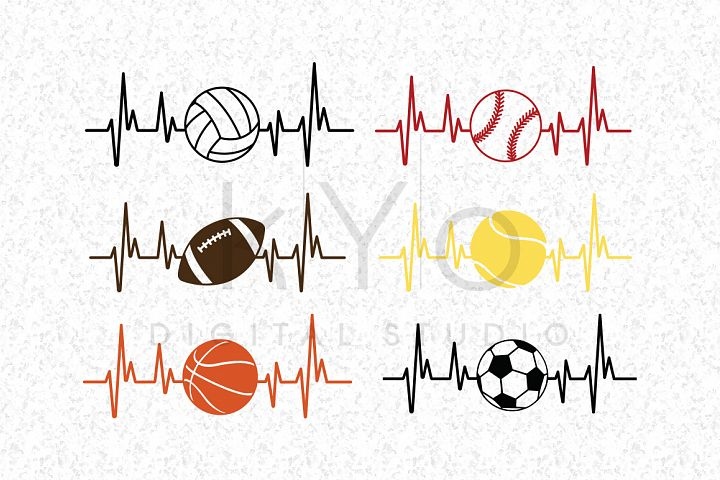 Baseball Football Soccer Basketball Volleyball Tennis Heart Beat SVG DXF PNG EPS files for Cricut and Silhouette