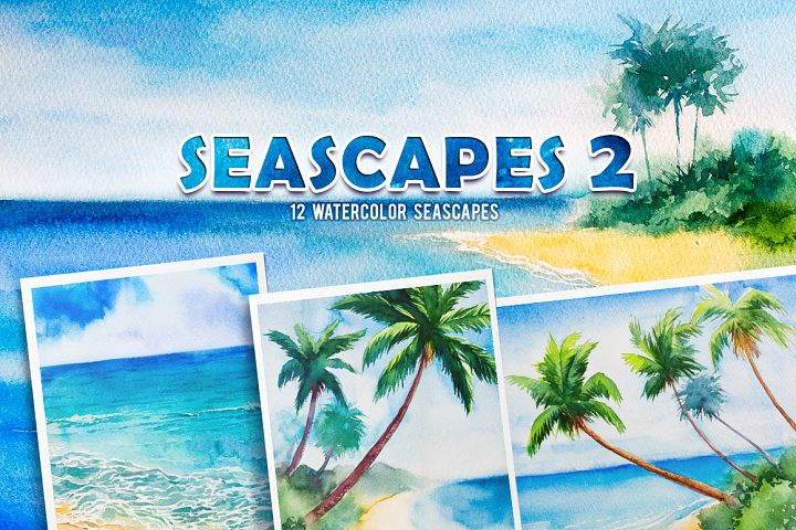 Seascapes 2. Watercolor set.