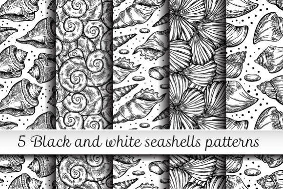 Black and white shells seamless patterns set