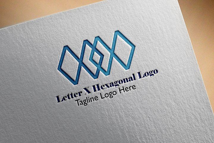 Premium Letter X Hexagonal Logo