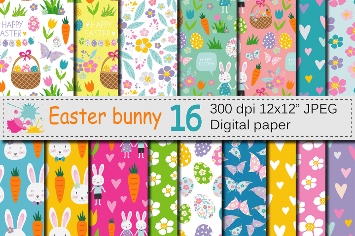 Easter Bunny Digital Paper / Bright Easter Seamless Patterns with bunnies, flowers and Easter eggs / Scrapbooking paper
