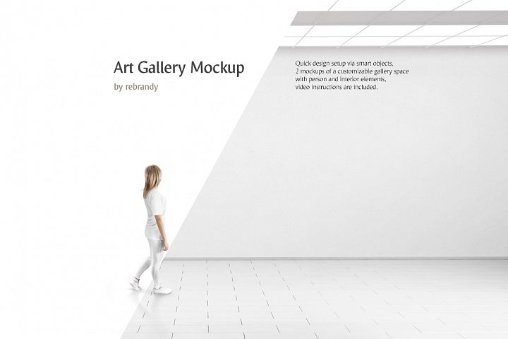 Art Gallery Mockup (canvas mock up, museum mock-up, wall mockup)