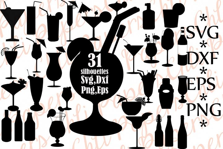 Cocktail silhouettes,Cocktail Svg,Silhouettes Svg,Cocktail cut file