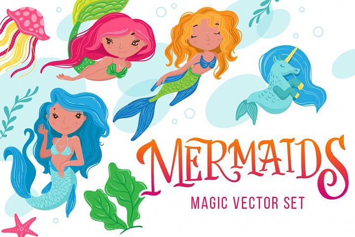 Mermaid - magic vector set