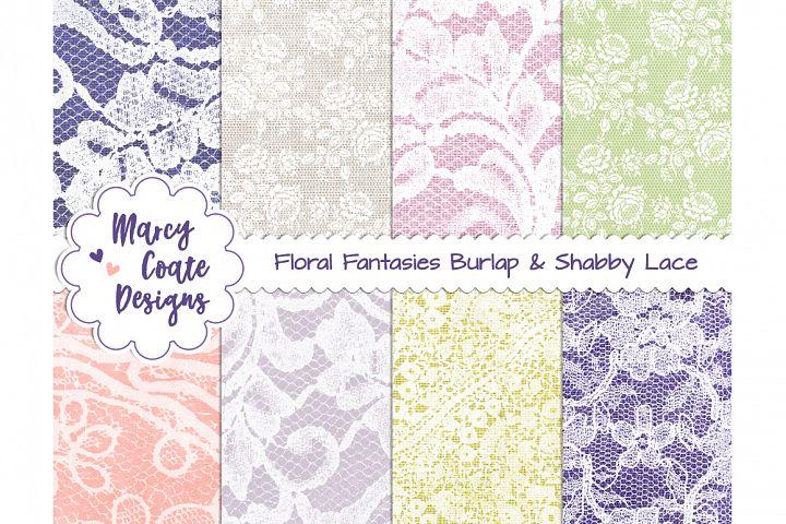 Floral Fantasies Burlap & Shabby Lace backgrounds