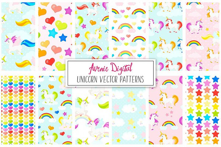 Rainbow Unicorns Digital Paper and Vector Patterns