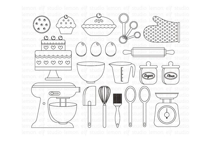 Baking Utensils-Digital Stamp (LES.DS11)