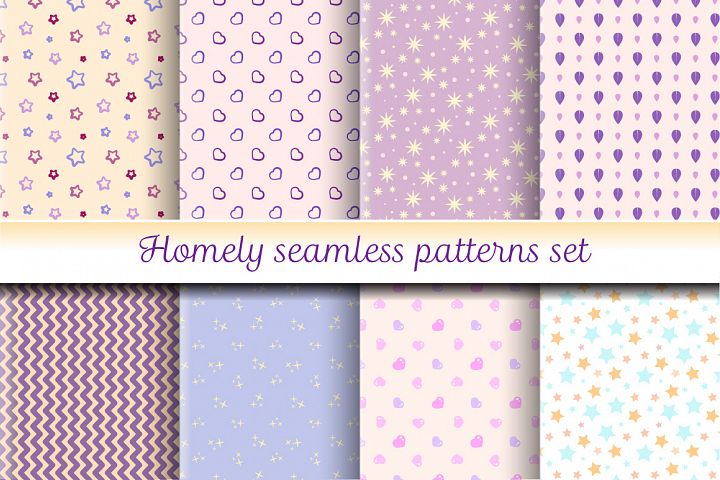 Homely pastel patterns set