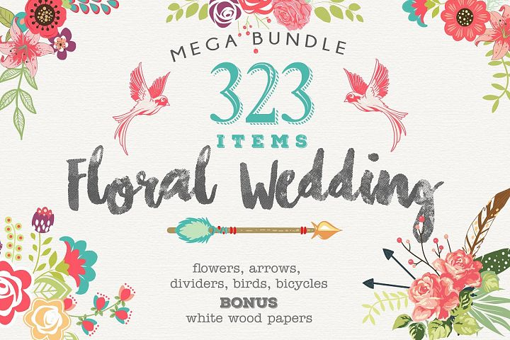 Wedding Floral Huge 323 Collection EPS and PNG