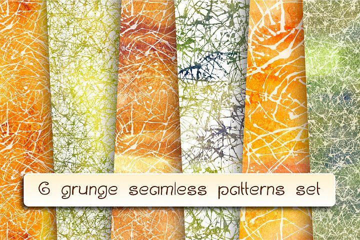 6 grunge seamless patterns set