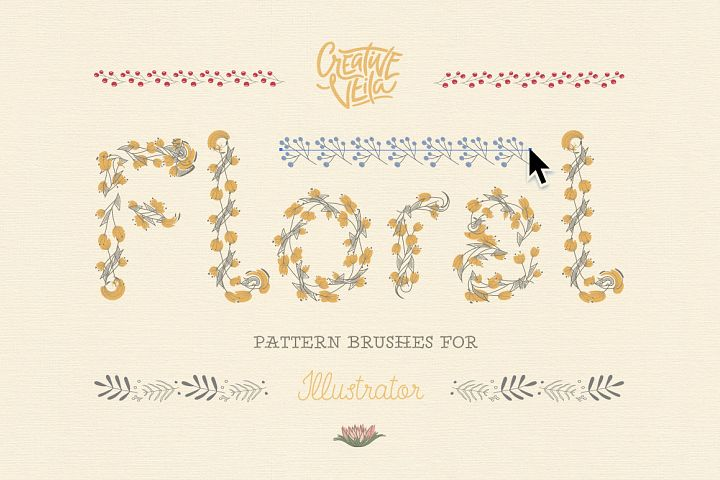 Floral Pattern Brushes For Illusnrator